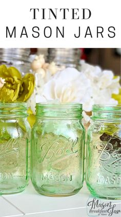 Do you want a simple yet stunning way to get your home ready for spring? Tinted Mason jars are an easy way to add a pop of color for any season. With just a few materials (Elmer's clear glue, food coloring and a paint brush) you can turn a plain glass jar into a vintage looking masterpiece. Customize these DIY home décor crafts by changing the color to match your home's décor. #tintedmasonjars #masonjarcrafts #masonjarcenterpieces  #springdecor Mason Jar Gifts, Mason Jar Diy, Mason Jar Projects, Diy Projects, Décor Crafts, Mason Jar Breakfast, Tinted Mason Jars, Mason Jar Storage, Mason Jar Kitchen