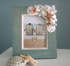 Beach Decor Shell Frame  Nautical Seashell by beachgrasscottage, $60.00