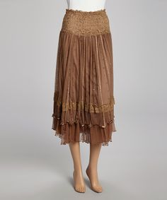 This Brown Sequin Lace Silk-Blend Skirt by Pretty Angel is perfect! #zulilyfinds