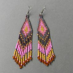 Pink purple and gold fringe  beaded earrings by Anabel27shop, $16.00