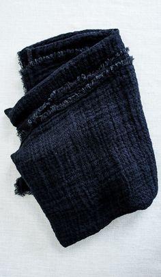Washed Linen Waffle Throw Blanket : Black