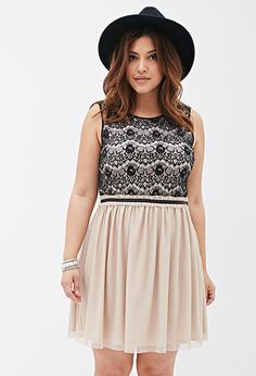 Eyelash-Lace Combo Dress | FOREVER21 PLUS - 2000100605 does this count as 'cream'?
