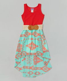 Look at this #zulilyfind! Coral Tribal Belted Hi-Low Dress - Girls #zulilyfinds