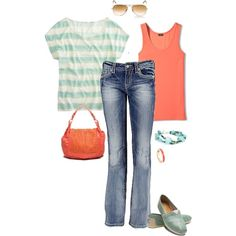 Aqua and Coral, created by pamnken on Polyvore