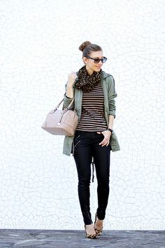stripes, leopard print and parka by Well Living Blog