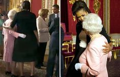 Michelle Obama puts her arm around the Queen during a reception at Buckingham Palace