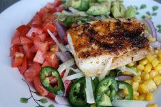 Blackened Fish Taco Salad with Cilantro Lime Vinaigrette