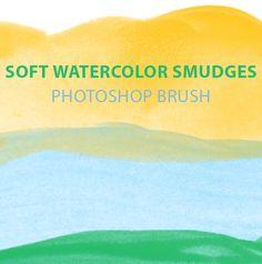 Soft watercolor smudges free Photoshop brush set