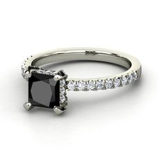 Princess Black Diamond 14K White Gold Ring with Diamond | Carrie Princess Ring | Gemvara