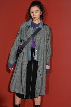 02ff305c5596a Elf sack woolen coat · Fake two woolen coats to help you become a fine The  coat + denim jacket has