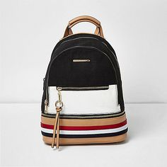 Black and white panel backpack - backpacks - bags / purses - women Backpack Bags, Fashion Backpack, Black And White Bags, Satchel, Crossbody Bag, White Paneling, Womens Purses, Fashion Essentials, River Island