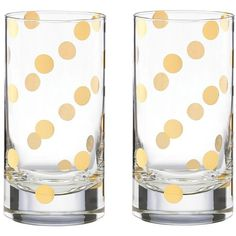 Kate Spade New York Pearl Place Highball Glass Set of 2 (88 BGN) ❤ liked on Polyvore featuring home, kitchen & dining, drinkware, gold dot and kate spade