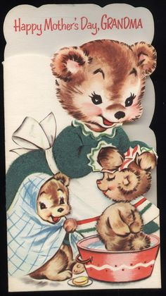 Vintage Mama Bear bathing Cubs gReeTinG CARD - oLd stOcK Unused Mothers Day Grandma Grandmother