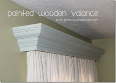 Painted wooden valance using crown molding from @Amanda Jones. #valance