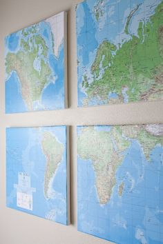Wall Map DIY. These would be cool to do on coarkboard even and then pin everywhere I've been!