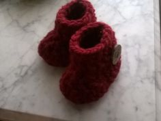 Crochet Baby Booties, Christmas Baby Booties, Baby Girl  Baby Boy, Dark Red  Handmade Christmas Booties, Unisex Baby Booties, Photo by SevernCreekCrafts on Etsy