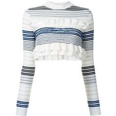 Stella McCartney cropped striped frill jumper (£350) ❤ liked on Polyvore featuring tops, sweaters, crop top, shirts, white, long sleeve summer shirts, stripe sweaters, white crop top, white cropped sweater and white shirt