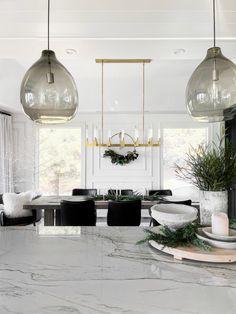 Christmas Interiors, Christmas Decor, Kitchen Designs, Kitchen Ideas, Cabinet Paint Colors, Oak Shelves, Wall Molding, Countertop Materials, Painting Cabinets