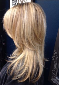 Rich buttery blonde.  Freshly cut with lots of great volume in the crown. Love