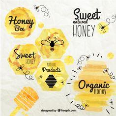 Emblemas do mel no estilo da aguarela Vetor grátis