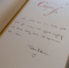 Lovely thoughts in our guest book.