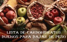 Lista de carbohidratos complejos para adelgazar