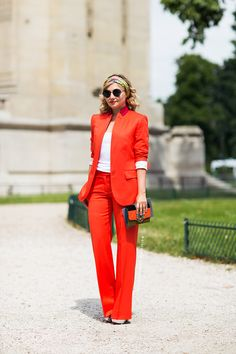 Love the idea of a red suit Orange Suit, Red Suit, Orange Pants, Burnt Orange, Colourful Outfits, Colorful Fashion, Terno Casual, Khadra, Cute Work Outfits