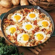 Shepherd breakfast: Cook onions and bacon in a skillet, add hash browns and cook until brown. Dig out a little hole for each egg, crack them into the hole. Cover and cook until eggs are done.