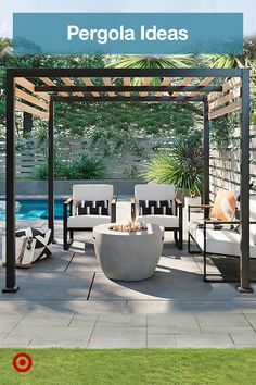 Small Backyard Pools, Backyard Pool Landscaping, Backyard Patio Designs, Backyard Retreat, Diy Patio, Gazebo Pergola, Pergola Ideas, Patio Ideas, Backyard Makeover