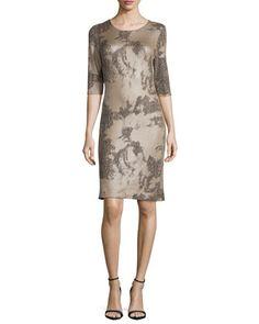 3/4-Sleeve Snake-Print Ponte Dress by Carmen Carmen Marc Valvo at Neiman Marcus.