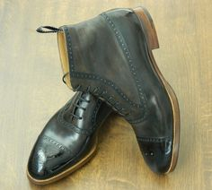 Model 593, oxford boot, special top line, hand stained sepia
