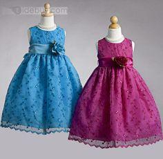 Amazing Round-Neck A-line Tea-Length Flower & Sequins Embellishing Flower Girl Dress