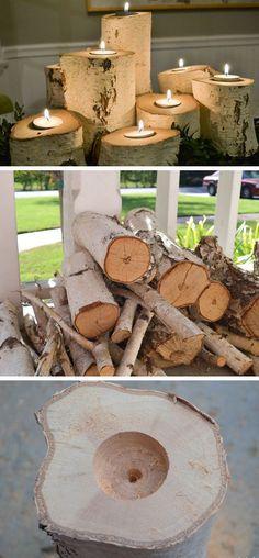 Birch log candle holder diy!