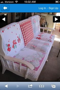 What if I used some of my vintage tablecloths and painters drop cloth fabric to make cushion covers for my patio settee?