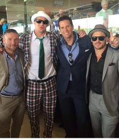 Patriots' boys at the derby. Edelman, Brady and Amendola look great. Gronk, looks like Gronk.