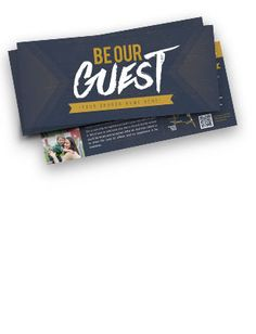 """Mini-Invite Cards are by inches in size. These """"Be Our Guest"""" (circle gradient) invite cards include one of our premium design templates for you to customize online. Church Office, My Church, Church Ideas, Church Graphic Design, Church Design, Church Outreach, Church Bulletins, Invitation Cards, Visual Identity"""