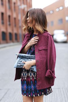 reinvent your closet with a burgundy denim jacket for Spring