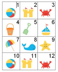 USA and beach themed calendar numbers