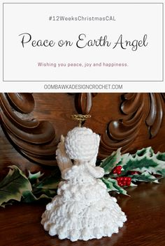 For this year's CAL I have designed the Peace on Earth Angel Pattern for you to crochet. This Christmas Angel is crocheted with Red Heart Super Saver