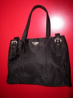 259b30b061e7 Authentic PRADA Black Nylon Tote Handbag COA