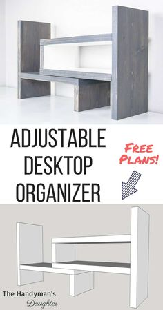 "Turn one 1x6 board into this adjustable desktop organizer! Expands up to 24"", or turn one end 90 degrees for a corner configuration. Get the free woodworking plans at The Handyman's Daughter! 
