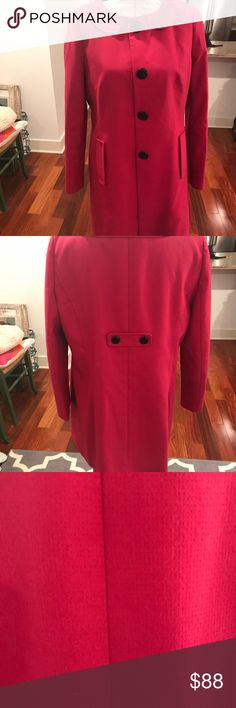 LOFT Fuchsia coat Bright fuchsia color Black buttons ( all accounted for) Cool button detail on back  Side pockets  Loved dearly but no longer fits. This coat is one of my faves. Very attractive looking on all body shapes . LOFT Jackets & Coats Trench Coats