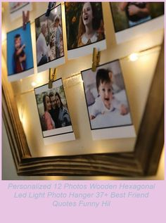 Personalized Wooden Hexagonal Led Light Photo Hanger with 12 Photos Memory Frame * Product Dimensions: 47x47 cm * Photo Size: 7x7 cm * PACKAGE CONTENTS Wooden Hexagonal Photo Hanger with Drawstring, 15 Pieces of Pegs, 12 Pieces of Polo Card Printing, 3 meters of LED light * Photos, Latches and LED light are shipped with the product. Batteries of the led light are not included in the product.#foryou #personalized #birthday best friend quotes funny hilarious Personalized 12 Photos Wooden