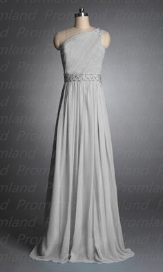 Silver beading chiffon long prom/bridesmaid/party by Promland, $99.00