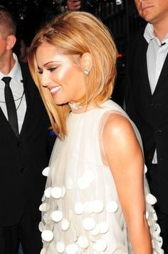 The asymmetrical bob. Hair is longer in the front and short in the back. Fun and a low maintenance haircut.