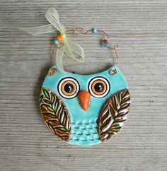 Aqua Ceramic Owl Ornament