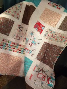 An Ultra Modern 37 X 46 Owl Themed Color by WrappingYouInWarmth