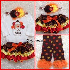 First Thanksgiving ruffle Bloomer set/ First Gobble bloomer set/ Baby Girl's First Thanksgiving outfit/ Photoprop on Etsy, $56.99