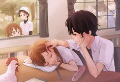 "Does anyone even notice that there is a chicken in the class room? ""✮ ANIME ART ✮ anime couple. . .romantic. . .love. . .sweet. . .school uniform. . .sleeping. . .classroom. . .cute. . .kawaii"""