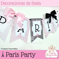 Paris Party Kit de decoraciones - Tarjetas Imprimibles